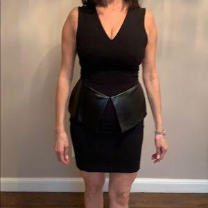 Robert Rodriguez black peplum V neck dress 2